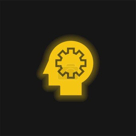 Illustration pour Processus cérébral jaune brillant icône néon - image libre de droit
