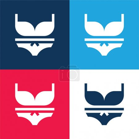 Illustration pour Ensemble d'icônes minimes bleu et rouge à quatre couleurs - image libre de droit