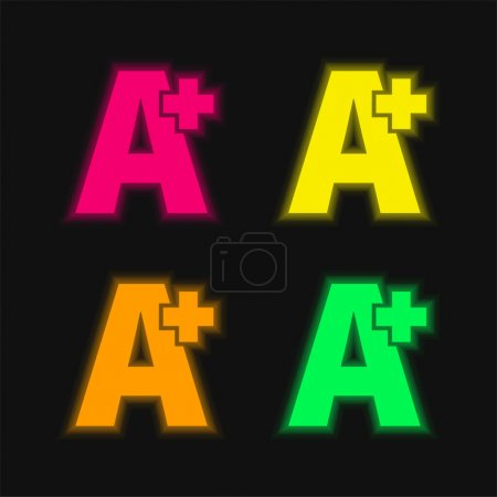 Illustration for A Plus Symbol four color glowing neon vector icon - Royalty Free Image