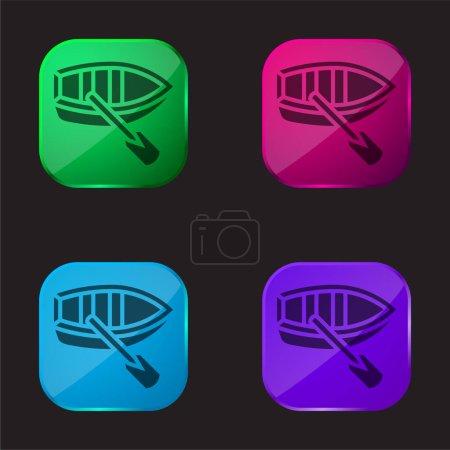 Illustration pour Bateau icône bouton en verre quatre couleurs - image libre de droit