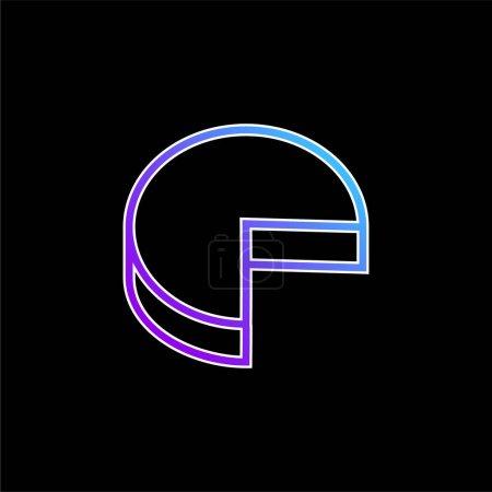3d Pie Graphic Without Quarter Part Outline Symbol blue gradient vector icon