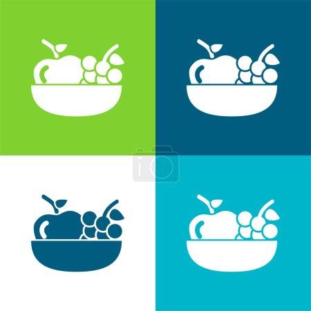 Illustration pour Pomme Et Raisins Sur Un Bol Ensemble d'icônes minimal plat de quatre couleurs - image libre de droit