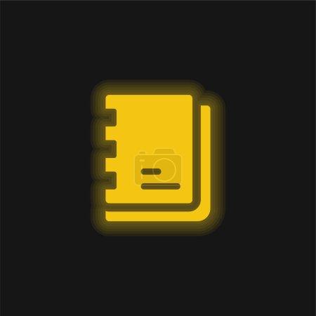 Illustration pour Artiste Carnet de croquis jaune brillant icône néon - image libre de droit