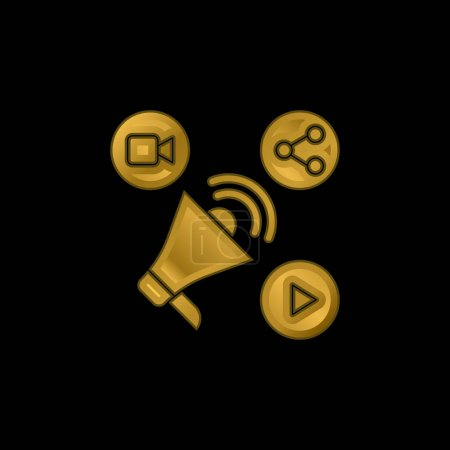 Illustration for Ads gold plated metalic icon or logo vector - Royalty Free Image