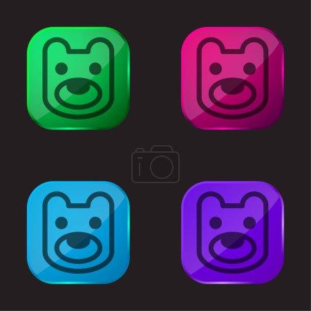 Bear Head four color glass button icon