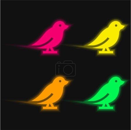 Illustration pour Oiseau quatre couleurs brillant icône vectorielle néon - image libre de droit