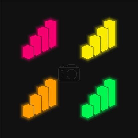 Illustration pour Barres 3D Graphique quatre couleurs brillant icône vectorielle néon - image libre de droit