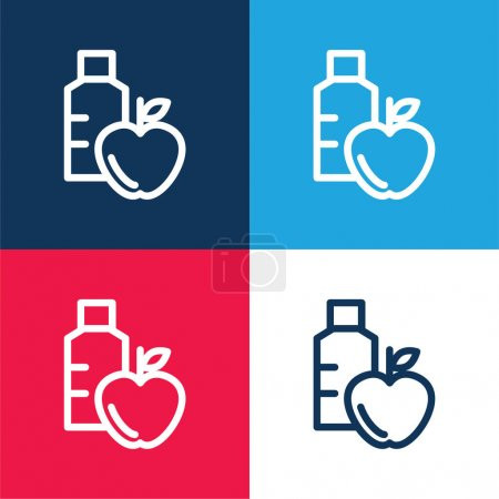 Apple And Water Bottle blue and red four color minimal icon set