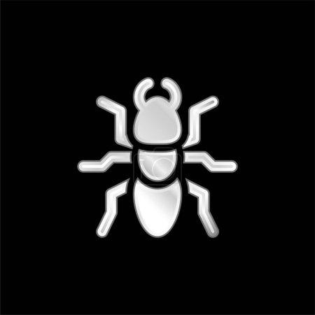 Illustration pour Ant icône métallique argentée - image libre de droit
