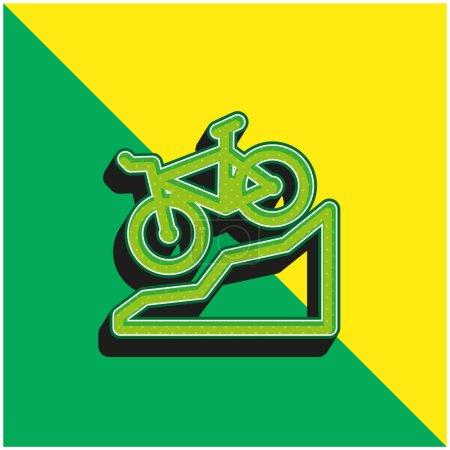 Photo pour Vélo Logo vectoriel 3D moderne vert et jaune - image libre de droit
