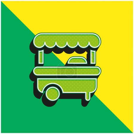 Booth Green and yellow modern 3d vector icon logo