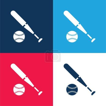 Illustration pour Baseball bleu et rouge quatre couleurs minimum jeu d'icônes - image libre de droit
