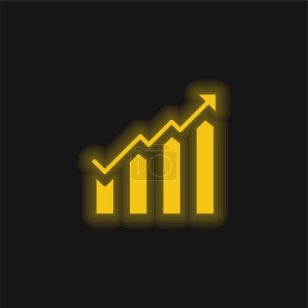 Illustration pour Diagramme à barres jaune brillant icône néon - image libre de droit