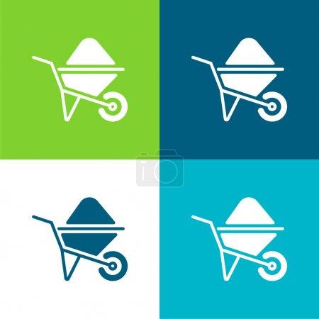 Illustration pour Barrow Set d'icônes minime plat quatre couleurs - image libre de droit
