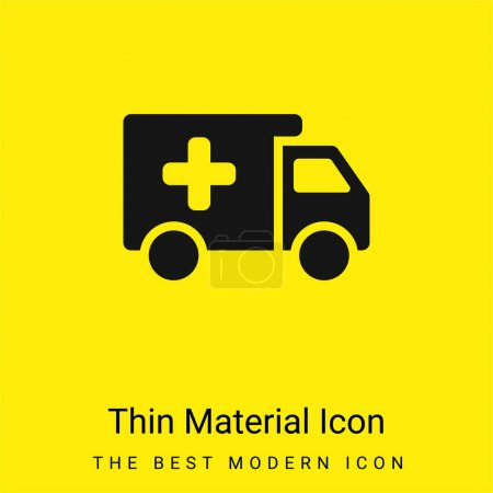 Illustration for Ambulance minimal bright yellow material icon - Royalty Free Image