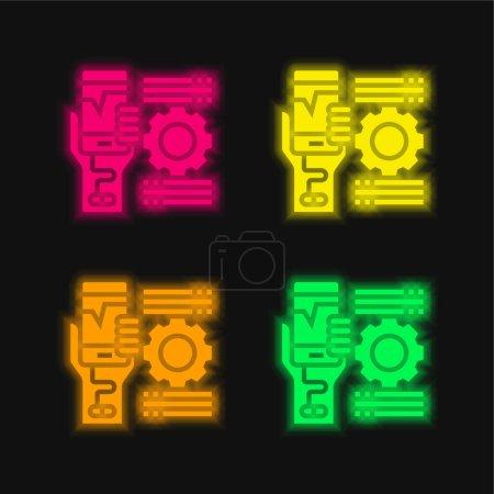 Addiction quatre couleurs rougeoyantes icône vectorielle néon