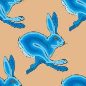 Blue running rabbit - vector pattern background image