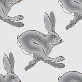 Grey running rabbit - vector pattern background image