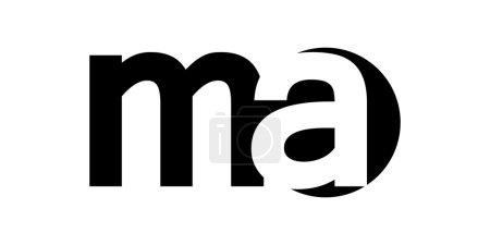 Monogram negative Space Letter Logo ma , m a