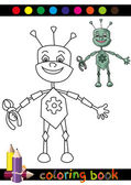 Coloring Book or Page Cartoon Illustration of Funny Robot for Children