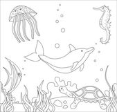 Coloring Book or Page Cartoon Illustration for Children