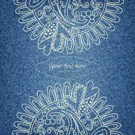 Denim Invitation card with ornament