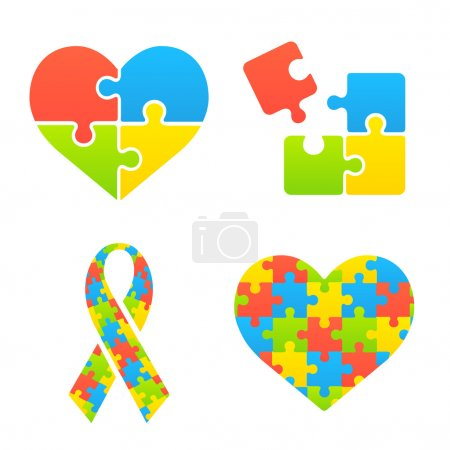 Illustration for Autism awareness symbols set. Heart, ribbon and puzzle pieces. - Royalty Free Image