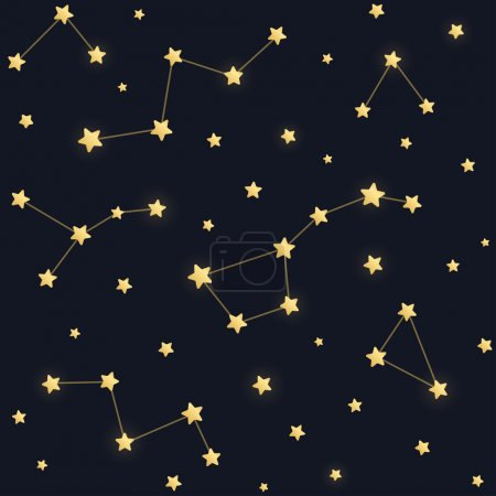 Illustration for Constellations seamless pattern. Golden stars on dark night sky background. - Royalty Free Image