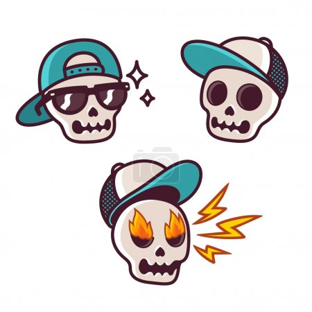 Funny cartoon skull set