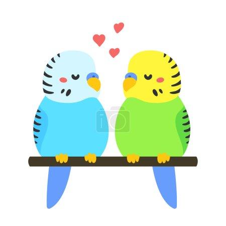 Cartoon Parakeets couple