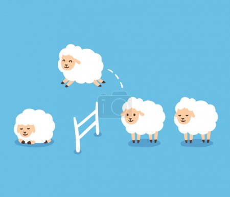 Illustration for Counting sheep to fall asleep vector illustration. Cute cartoon sheep jumping over fence. - Royalty Free Image
