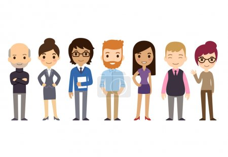Illustration for Set of diverse business people isolated on white background. Different nationalities and dress styles. Cute and simple flat cartoon style. - Royalty Free Image