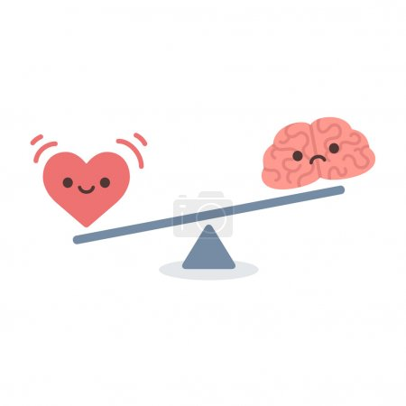 Illustration for Illustration of the concept of balance between logic and emotion. Cartoon brain and heart on a scale. Simple and modern flat vector style, isolated on white background. - Royalty Free Image