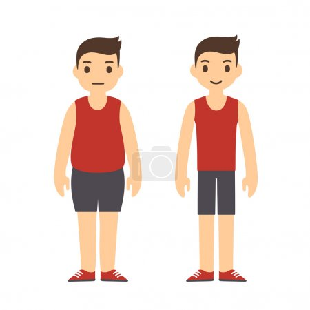 Cute cartoon man in sport clothes with two body ty...