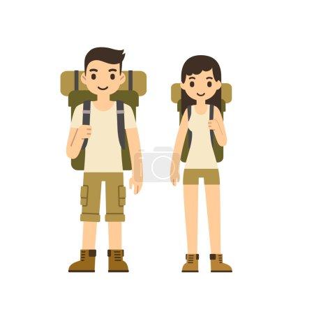 Cute cartoon couple with hiking equipment