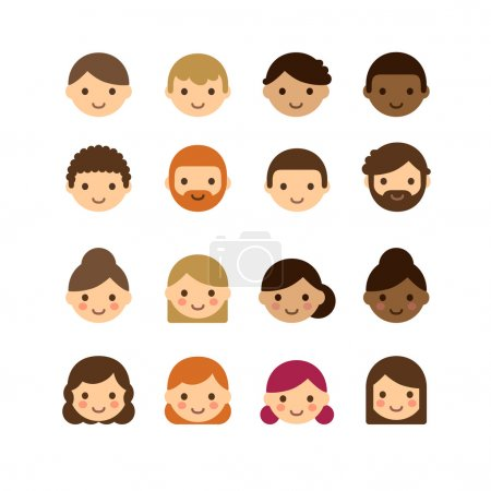 Illustration for Set of diverse male and female avatars with different skin tones, hair colors and styles isolated on white background. - Royalty Free Image