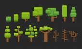 Stylized cartoon trees