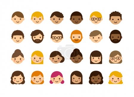 Illustration for Set of diverse male and female avatars isolated on white background. Different skin color and hair styles. Cute and simple flat vector style. - Royalty Free Image