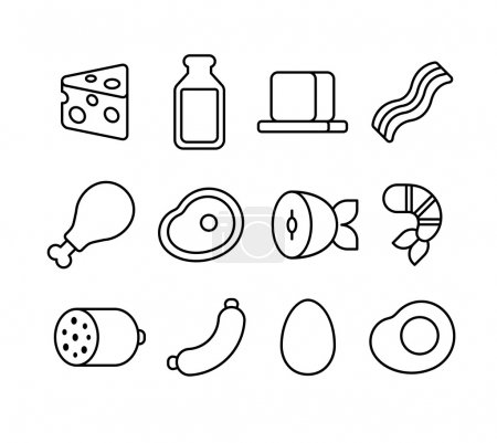 Meat and dairy line icons