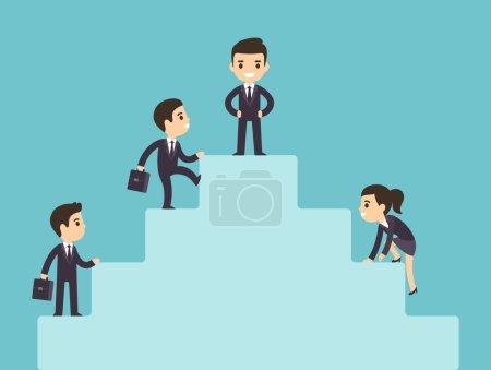 Illustration pour Mignonne bande dessinée gens d'affaires grimpant échelle d'entreprise. Illustration du succès et du développement. Style vectoriel plat . - image libre de droit