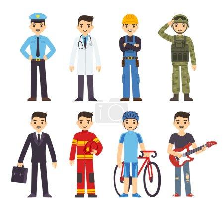 Photo pour Homme de bande dessinée en costumes de 8 professions différentes . - image libre de droit