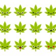 Cute emoticon set: adorable cartoon cannabis leaf ...