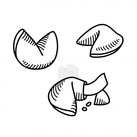 Illustration for Sketch style fortune cookie set. Vector illustration. - Royalty Free Image