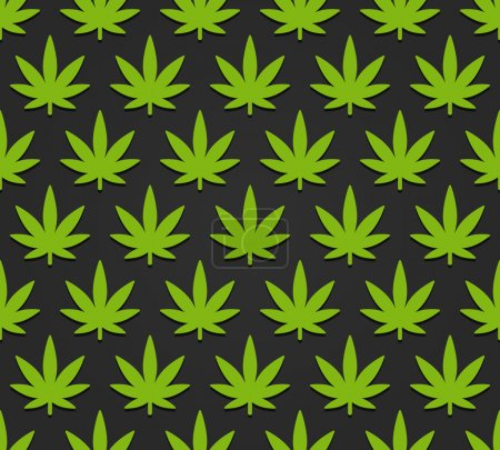 Illustration for Cannabis plant seamless pattern. Simple stylized marijuana leaves on dark background, vector illustration. - Royalty Free Image