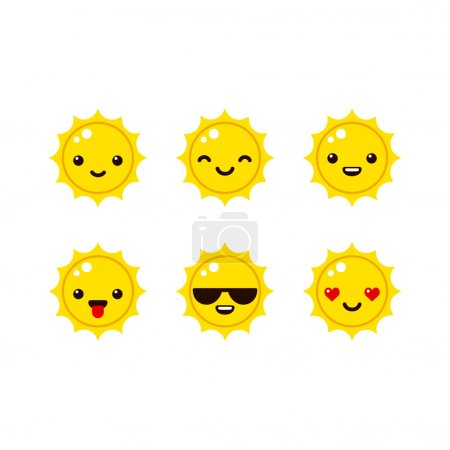 Illustration for Cute sun emoticons in modern vector style. Cartoon smiley icons. - Royalty Free Image