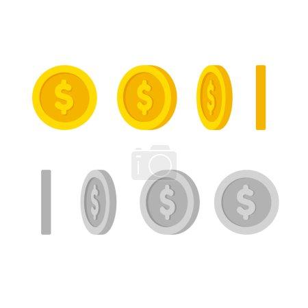 Illustration pour Dessin animé plat pièces d'or et d'argent avec symbole dollar, ensemble d'icônes à différents angles pour l'animation. Illustration vectorielle moderne . - image libre de droit
