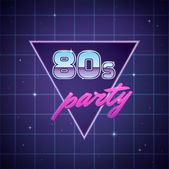 80s retro party poster template on neon sci-fi background Vector illustration
