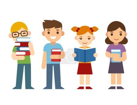 Cartoon children with books