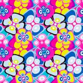 brightly colored abstract flowers on a black background seamless pattern vector illustration