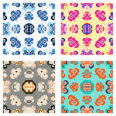 Color retro wallpaper collection of vector illustration